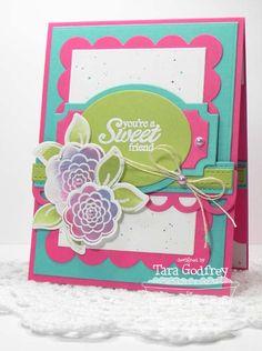 Sweet Roses; Roses and Leaves Die-namics; Layered Labels Die-namics; Rectangle STAX Set 1 Die-namics; Blueprints 1 Die-namics; Blueprints 2 Die-namics; Open Simply Scallops Trio Die-namics - Tara Godfrey
