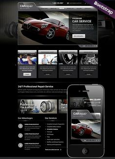 Car Repair Service website template  Mobile Responsive Website, Bootstrap