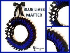 Blue Lives Matter American Flag Wreath,  Police Lives Matter Wreath, Thin Blue Line Wreath, Support Police, Cop Wreath, Front Door Wreath