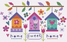 Welcome Sampler 'Home' sampler cross stitch kit designed by The Stitching Shed. Contents: 14 count aida fabric, anchor threads,chart and full instructions. Size: x *Usually dispatched within 5 working days* Cross Stitch House, Cross Stitch Heart, Beaded Cross Stitch, Modern Cross Stitch, Cross Stitch Embroidery, Embroidery Patterns, Cross Stitch Patterns, Birdhouse Designs, Cross Stitch Landscape