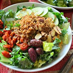 Enjoy this Panera Bread copycat recipe of Mediterranean Quinoa Salad with Sliced Almonds at home!