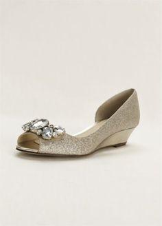 14d781c4a0fae Touch of Nina Crystal Peep Toe Wedge REETA Wedding Styles