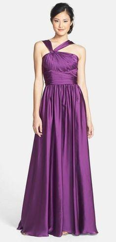 Long satin bridesmaid dress--love the asymmetrical straps!