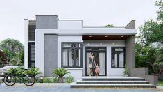Modern Exterior House Designs, Modern House Facades, Modern Architecture House, Modern House Design, Village House Design, Kerala House Design, Bungalow House Design, Single Floor House Design, House Front Design