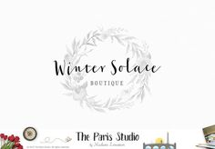 Black & White Floral Watercolor Wreath Logo Design for artisan boutique branding, e-commerce website logo, wordpress blog logo,…