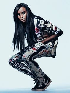Angel Haze in a multi-print matching jacket and pants for V Magazine