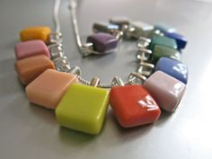 Small Glass Pendant Silver Necklace in Different by Glassimo, $18.00