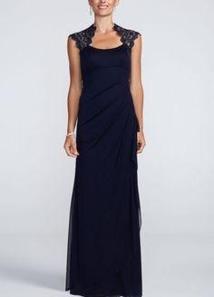 Metallic Lace Cap Sleeve Long Jersey Dress - Wedding Dresses by David's Bridal - Loverly