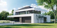 DOM.PL™ - Projekt domu CPT HomeKONCEPT-37 CE - DOM CP1-42 - gotowy koszt budowy Modern Family House, Modern House Plans, Dream Home Design, My Dream Home, Mansion Designs, 2 Storey House Design, Woodland House, Home Fashion, Exterior Design