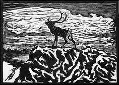 Ønsker å kjøpe John Savio og Iver Jåks kunst Woodcut Art, Scandinavian Folk Art, Nordic Art, Wood Engraving, Woodblock Print, Art History, Moose Art, Artsy, Art Prints