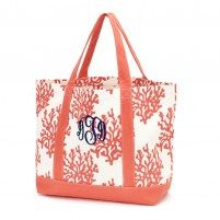 Personalized Coral Canvas Tote Bag