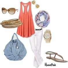 Look at how the deep coral color in the scarf pops with the coral tank. I am not crazy about the scarf but would definitely look for one that had coral in it to wear with this. The baby blue goes really well with the coral. I just found a baby blue bag at TJ Maxx Wednesday!
