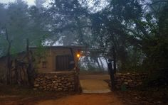 Misty view of Ken River Lodge A Lodge that is built with natural material that is sourced from the neighbouring village.