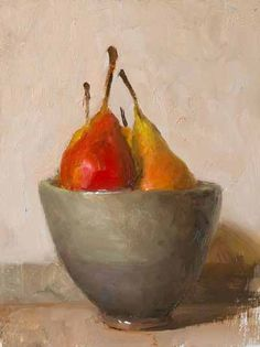 'A bowl of pears' (2018), a daily painting by Provence-based British artist Julian Merrow-Smith. via Postcard from Provence