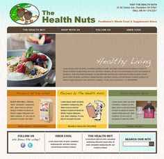 Pendleton Health Nuts based in Pendleton, Oregon. Initial concept created by Artifx Media Inc. for website design. Client is an organic, whole foods, health store that needed a web presence to sell suppliments such as vitamins and bulk nuts, grains a