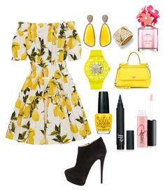 """Pink and yellow"" by grey-grey03 on Polyvore featuring Dolce&Gabbana, Giuseppe Zanotti, Christina Debs, Swatch, OPI, Marina B, MAC Cosmetics, Marc Jacobs, women's clothing and women"