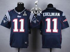 1dee1f589 Nike Patriots 11 Julian Edelman Navy Blue Team Color Super Bowl XLIX Men s  Stitched NFL Elite. Jordy Nelson JerseyNew England ...