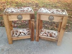 Set of 2 Occasional End Tables Exotic Stencil Cowhide Longhorn Western Decor | eBay