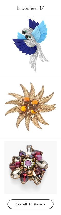 """""""Brooches 47"""" by middletondonna ❤ liked on Polyvore featuring brooches, jewelry, backgrounds, brown, brown jewelry, baroque jewelry, facet jewelry, pre owned jewelry, leaves jewelry and multi"""