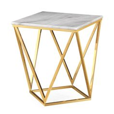 Butterfly Side Table Brass & White Marble Coffee & Side Tables