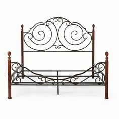 Weston Home Adison Graceful Scrolls Poster Metal Bed, Multiple Sizes Image 5 of 5 Farmhouse Decor Living Room, Weston Home, Cute Room Decor, Steel Bed Design, Headboard And Footboard, Beautiful Bedding, Wrought Iron Beds, Iron Bed, Diy Outdoor Furniture