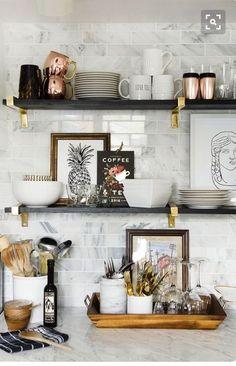Open kitchen shelves More / cuisine / home interior design / cuisine idee decoration / dream house / Classic Kitchen, New Kitchen, Kitchen Ideas, Country Kitchen, Open Shelf Kitchen, Copper Kitchen, Kitchen Shelf Decor, Basement Kitchen, Kitchen Ware