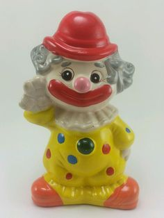 Vintage 1970s Ceramic Clown Coin Bank. 8in tall. Circus. Hand painted.