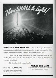 Woman's Field Army Against Cancer 1937. This ad is the inside front cover of The Yale Record, 1937, a humor magazine.  The Women's Field Army was a branch of the American Society for the Control of Cancer, predecessor of the American Cancer Society.
