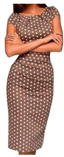beautiful, modest and stylish dress. Women's Cap Sleeve Polka Dot Hip Pencil Dress - A Thrifty Mom