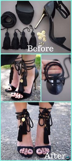 DIY Tassel Sandals Makeover Instruction - DIY Ways Refashion Heels Tutorials #sandalsdiytassel #diysandals