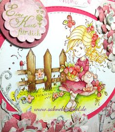 """""""Emily"""" and """"Garden Fence"""" Whimsy Stamps; Flower die """"Flowers"""" Nellie Snellen; """"Leafy Branch"""" Wild Rose Studio; """"XXLOvals"""" Crealies; Sentiment """"Glückwunsch"""" Craft Emotions; Paper Pad """"Summertime"""" Maja Design; colored with TwinklingsH2O // Birthday Card Summertime"""