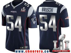 Men's New England Patriots #54 Tedy Bruschi Navy Blue With Silver 2017 Super Bowl LI Patch Stitched NFL Limited Jersey