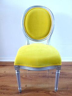 Antique Armless Silver Louis Yellow Velvet Chair By metrosofa traditional chairs Yellow Dining Room, Living Room Chairs, Yellow Chairs, Dining Chairs, Painted Furniture, Home Furniture, Furniture Ideas, Furniture Inspiration, Interior Inspiration