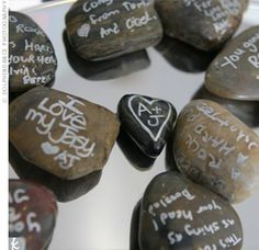 In lieu of a guest book, guests will write on these. They will be added to our landscaping at home!