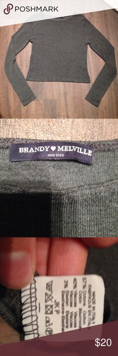 Brandy Melville Top One size soft top. Cropped. Brandy Melville Tops Tees - Long Sleeve
