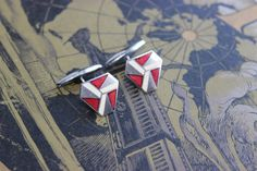 Vintage enamel cufflink brass art deco new old stock
