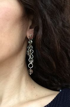 Sterling silver long dangling chain earrings with by SamsabyElena