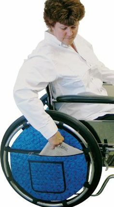 Wheelchair Wheel Pouch. Pinned by OTtoolkit.com. Treatment plans and patient handouts for the OT working with physical disabilities and geriatrics.