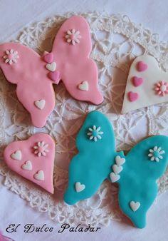 El dulce paladar Galletas mariposas y corazones, fondant