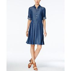 Tommy Hilfiger Pleated Denim Shirtdress ($99) ❤ liked on Polyvore featuring dresses, denim blue, pleated shirt dress, long shirt dress, white shirt dress, white pleated dress and denim shirt dress