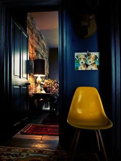 Navy blue walls.