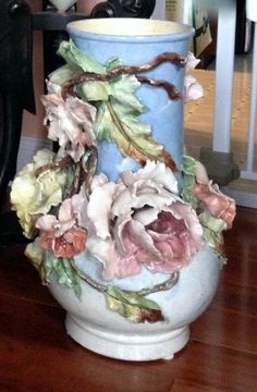 Monumental French Barbotine Majolica Vase Marked Edouard Gilles
