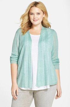 Eileen Fisher Delave Linen Cardigan (Plus Size)