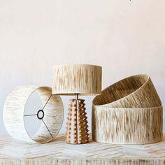 Natural Raffia Lamp Shades | Graham & Green Paper Lampshade, Lampshades, Painting Lamp Shades, Creative Lamps, White Table Lamp, Lamp Design, Light Design, Drum Shade, Light Shades