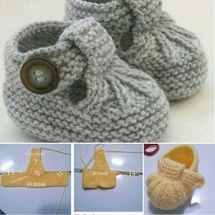 """Patik """"Discover thousands of images about DIY Cómo tejer patucos sandalia para bebe (patrones gratis)"""", + Knit Baby Booties with Pattern - Page 3 o Baby Booties Knitting Pattern, Knit Baby Shoes, Crochet Baby Booties, Baby Boots, Baby Blanket Crochet, Baby Knitting Patterns, Hand Knitting, Beginner Knitting, Knitted Slippers"""