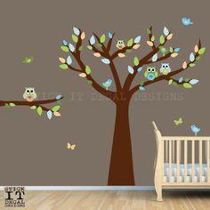 Owl Tree Decal Owl Decor Owl Nursery Decor by StickItDecalDesigns