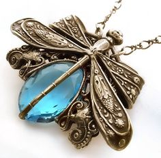 Dragonfly necklace Victorian style pendant necklace by Federikas, $73.00