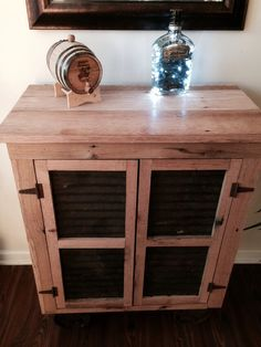 Unique Distressed Wood Bar Cabinet