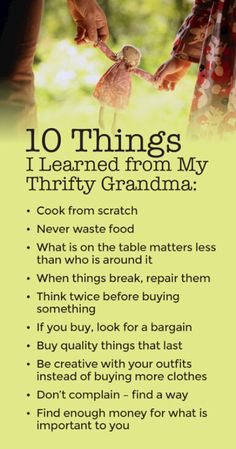 Thrifty Tips - Grandma had plenty of amazing money lessons, she raised 7 kids on one income post WWII and made it work. Money was tight but she stretched every penny and saved money for a rainy day. Ways To Save Money, Money Tips, Money Saving Tips, Saving Money Quotes, Frugal Living Tips, Frugal Tips, Budget Planer, Financial Tips, Financial Peace