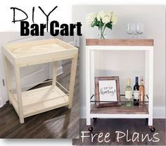 Plans of Woodworking Diy Projects - Step by Step How To - DIY Bar Cart built by AngelaMarieMade Free Plans by SmashingDIY Get A Lifetime Of Project Ideas & Inspiration! Woodworking Projects Diy, Woodworking Furniture, Diy Wood Projects, Home Projects, Woodworking Plans, Woodworking Equipment, Woodworking Machinery, Intarsia Woodworking, Woodworking Basics